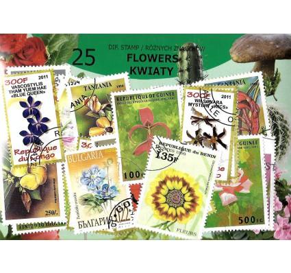 Pakiet filatelistyczny KWIATY 25 znaczkow