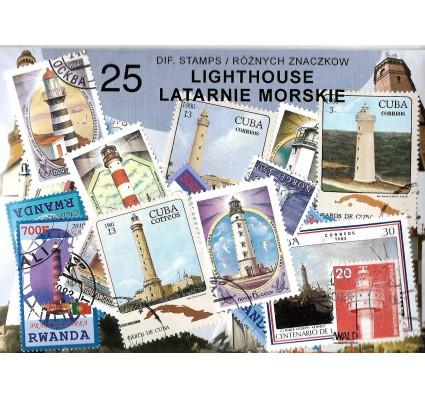 Pakiet filatelistyczny LATARNIE MORSKIE 25 znaczkow