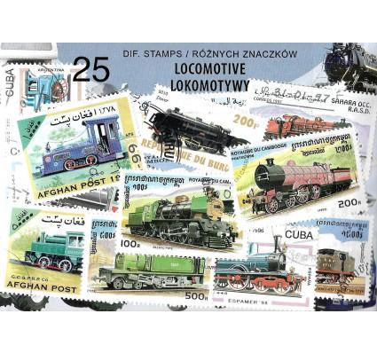 Pakiet filatelistyczny LOKOMOTYWY 25 znaczkow