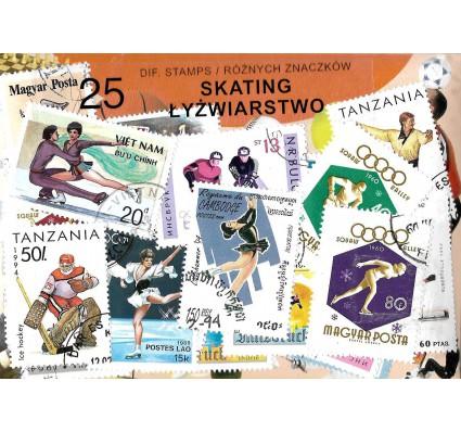 Pakiet filatelistyczny ŁYŻWIARSTWO 25 znaczkow