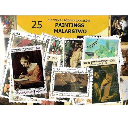 Pakiet filatelistyczny MALARSTWO 25 znaczkow
