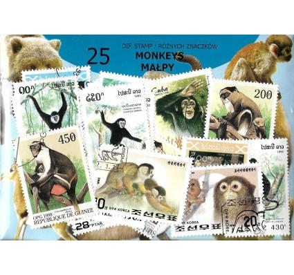 Pakiet filatelistyczny MAŁPY 25 znaczkow