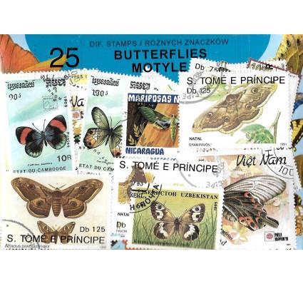 Pakiet filatelistyczny MOTYLE 25 znaczkow
