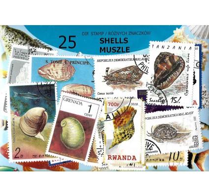 Pakiet filatelistyczny MUSZLE 25 znaczkow