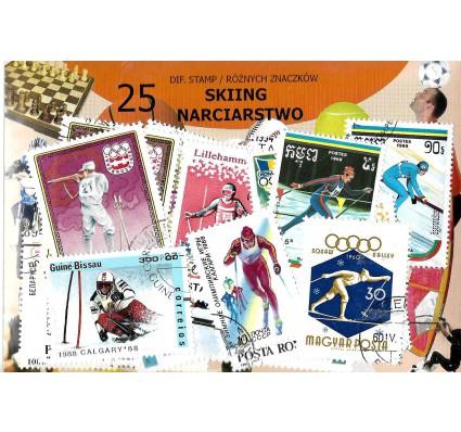 Pakiet filatelistyczny NARCIARSTWO 25 znaczkow