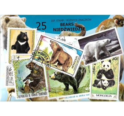 Pakiet filatelistyczny NIEDŹWIEDZIE 25 znaczkow