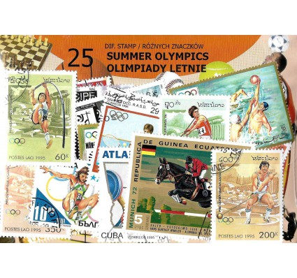Pakiet filatelistyczny OLIMPIADY LETNIE 25 znaczkow