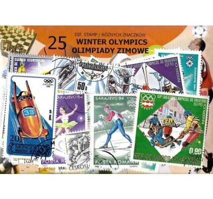 Pakiet filatelistyczny OLIMPIADY ZIMOWE 25 znaczkow