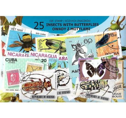 Pakiet filatelistyczny OWADY Z MOTYLAMI 25 znaczkow