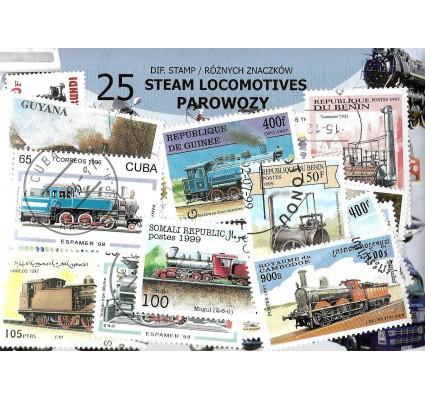 Pakiet filatelistyczny PAROWOZY 25 znaczkow
