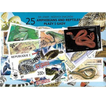 Pakiet filatelistyczny PŁAZY I GADY 25 znaczkow