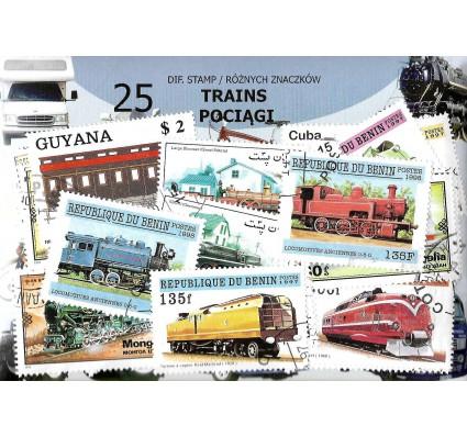 Pakiet filatelistyczny POCIĄGI 25 znaczkow