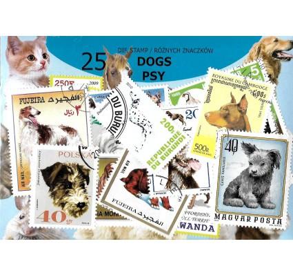 Pakiet filatelistyczny PSY 25 znaczkow
