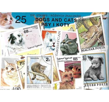 Pakiet filatelistyczny PSY I KOTY 25 znaczkow