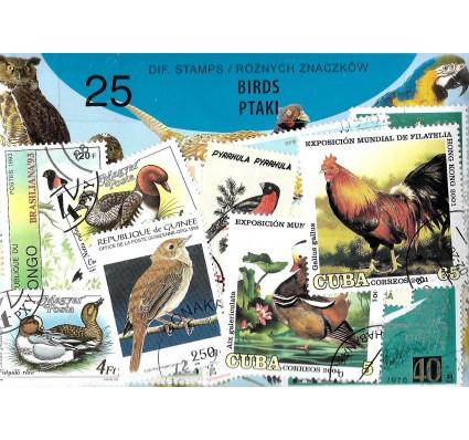 Pakiet filatelistyczny PTAKI 25 znaczkow