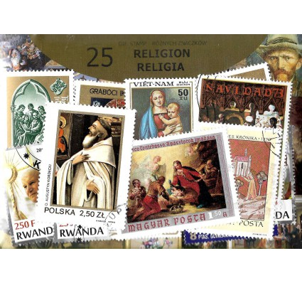 Pakiet filatelistyczny RELIGIA 25 znaczkow