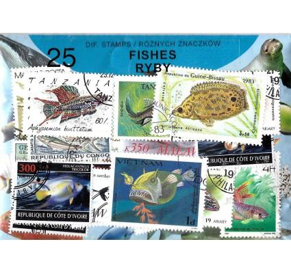 Pakiet filatelistyczny RYBY 25 znaczkow