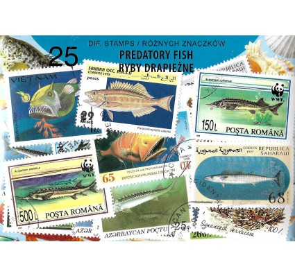 Pakiet filatelistyczny RYBY DRAPIEŻNE 25 znaczkow