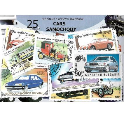 Pakiet filatelistyczny SAMOCHODY 25 znaczkow
