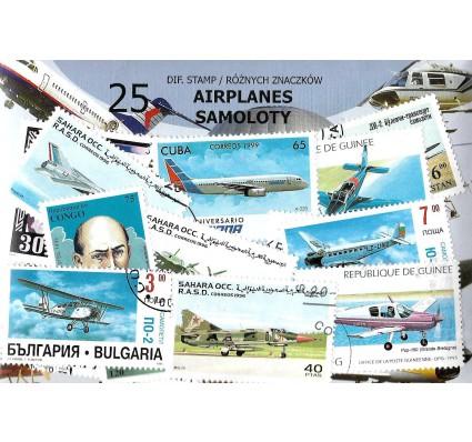 Pakiet filatelistyczny SAMOLOTY 25 znaczkow