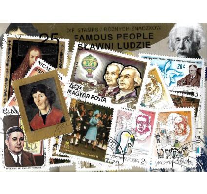 Pakiet filatelistyczny SŁAWNI LUDZIE 25 znaczkow