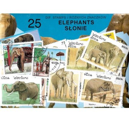 Pakiet filatelistyczny SŁONIE 25 znaczkow