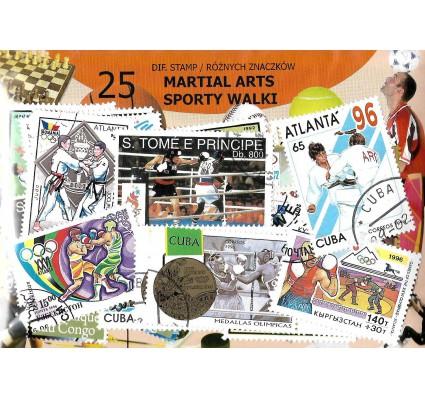 Pakiet filatelistyczny SPORTY WALKI 25 znaczkow