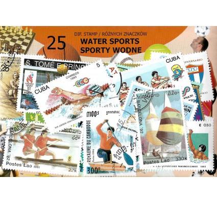 Pakiet filatelistyczny SPORTY WODNE 25 znaczkow
