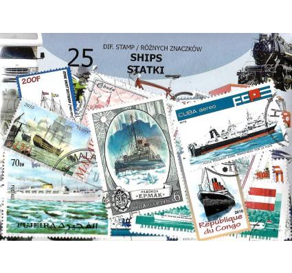 Pakiet filatelistyczny STATKI 25 znaczkow