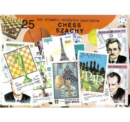 Pakiet filatelistyczny SZACHY 25 znaczkow