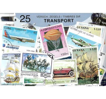 Pakiet filatelistyczny TRANSPORT 25 znaczkow