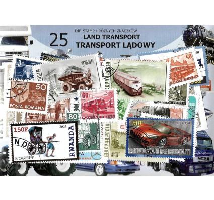 Pakiet filatelistyczny TRANSPORT LĄDOWY 25 znaczkow
