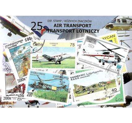 Pakiet filatelistyczny TRANSPORT LOTNICZY 25 znaczkow