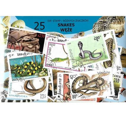 Pakiet filatelistyczny WĘŻE 25 znaczkow