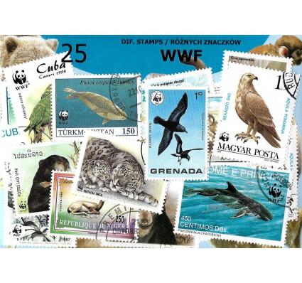 Pakiet filatelistyczny WWF 25 znaczkow