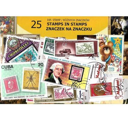 Pakiet filatelistyczny ZNACZEK NA ZNACZKU 25 znaczkow