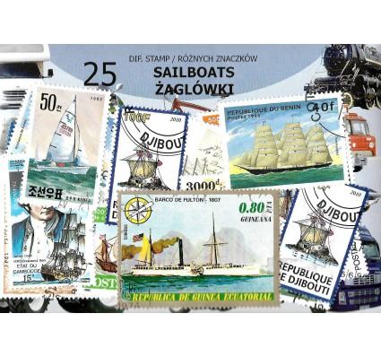 Pakiet filatelistyczny ŻAGLÓWKI 25 znaczkow