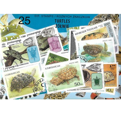 Pakiet filatelistyczny ŻÓŁWIE 25 znaczkow