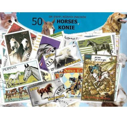 Pakiet filatelistyczny KONIE 50 znaczkow