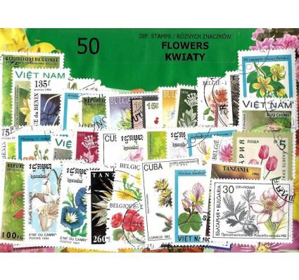 Pakiet filatelistyczny KWIATY 50 znaczkow
