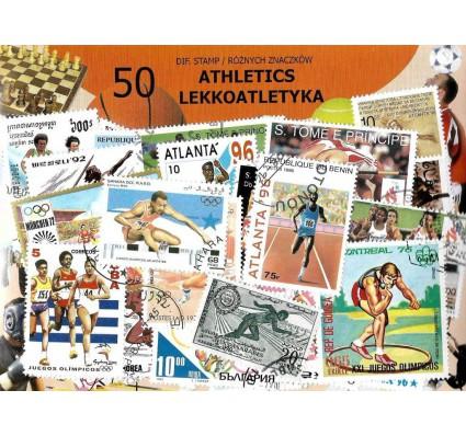 Pakiet filatelistyczny LEKKOATLETYKA 50 znaczkow