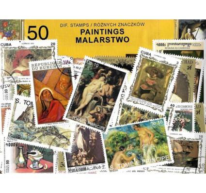 Pakiet filatelistyczny MALARSTWO 50 znaczkow