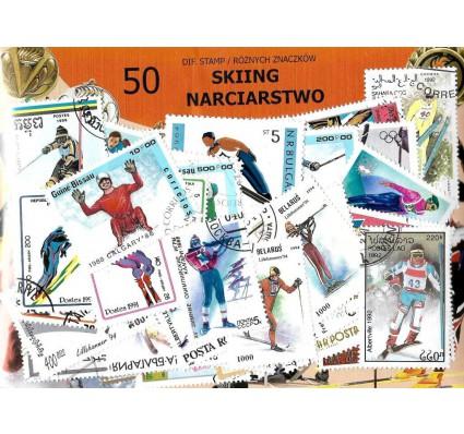 Pakiet filatelistyczny NARCIARSTWO 50 znaczkow