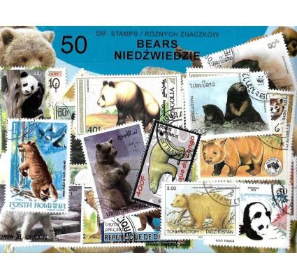 Pakiet filatelistyczny NIEDŻWIEDZIE 50 znaczkow