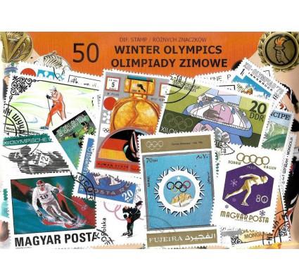 Pakiet filatelistyczny OLIMPIADY ZIMOWE 50 znaczkow