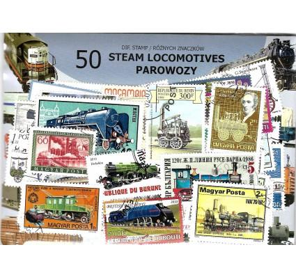 Pakiet filatelistyczny PAROWOZY 50 znaczkow