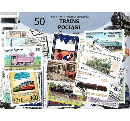 Pakiet filatelistyczny POCIĄGI 50 znaczkow