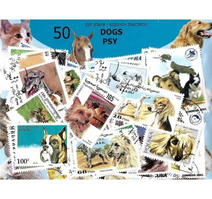 Pakiet filatelistyczny PSY 50 znaczkow