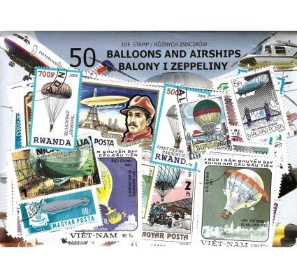 Pakiet filatelistyczny BALONY I ZEPPELINY 50 znaczkow