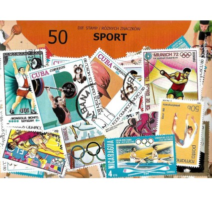 Pakiet filatelistyczny SPORT 50 znaczkow